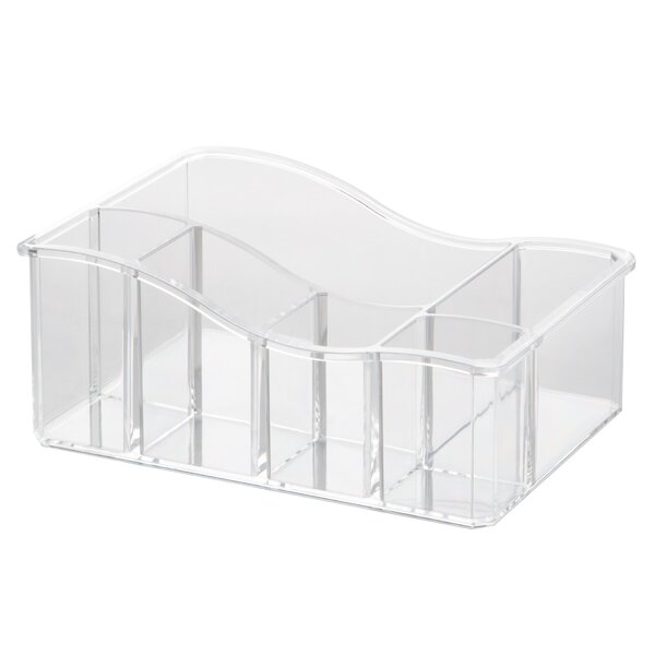 Clear 3 Compartment Cosmetic Brush and Accessories Holder by HomeCrate