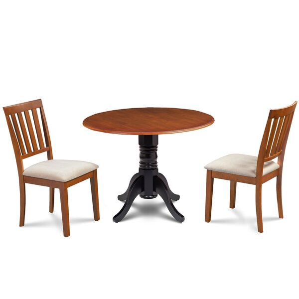 #2 Edgar 3 Piece Drop Leaf Solid Wood Dining Set By Millwood Pines No Copoun
