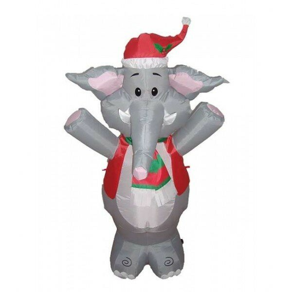 Christmas Inflatable Cute Standing Elephant Decoration By The Holiday Aisle.