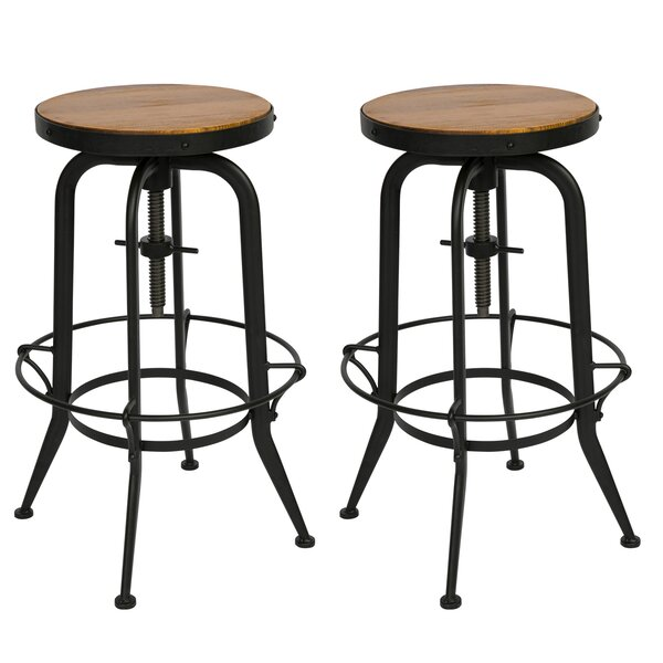 Dunamoy Adjustable Height Swivel Bar Stool (Set of 2) by Gracie Oaks