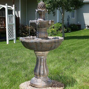 Dunne Fibergl Solar 2 Tier Pinele Water Fountain With Light