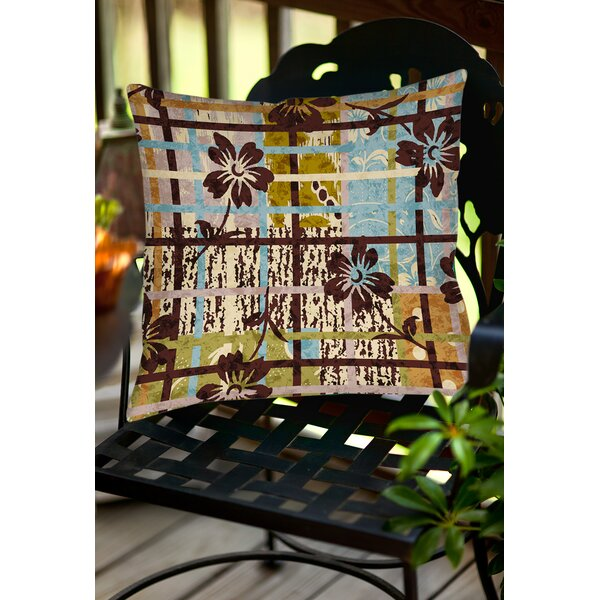 Floral Study in Plaid Indoor/Outdoor Throw Pillow by Manual Woodworkers & Weavers