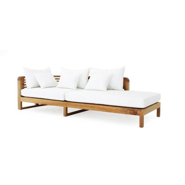 Hamilton Arm Left Teak Chaise Lounge with Cushion