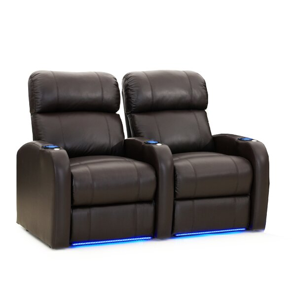 Leather Home Theater Sofa (Row Of 2) By Winston Porter
