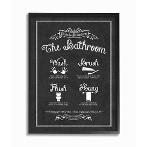 'Guide to the Bathroom Icons' Framed Textual Art by Stupell Industries