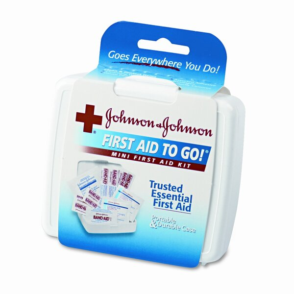 Mini First Aid To Go Kit, 12 Pieces, Plastic Case by Johnson & Johnson