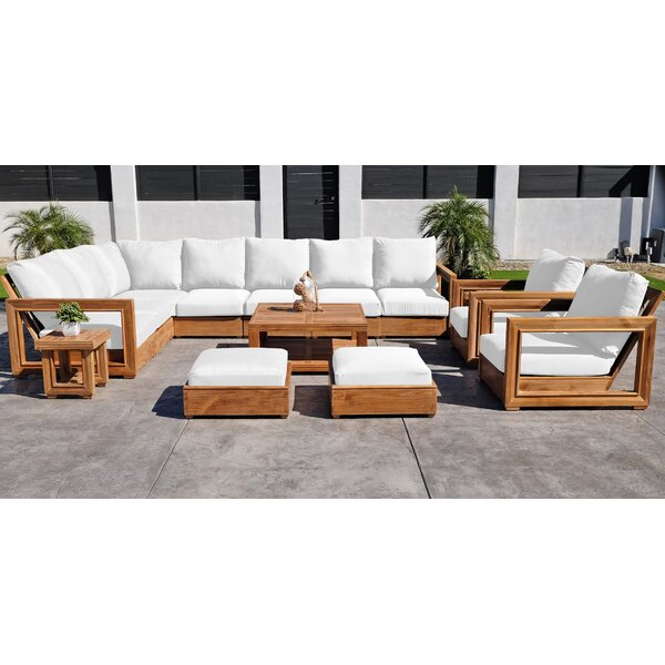 Crelake 13 Piece Teak Sunbrella Sectional Seating Group with Cushions by Foundry Select Foundry Select