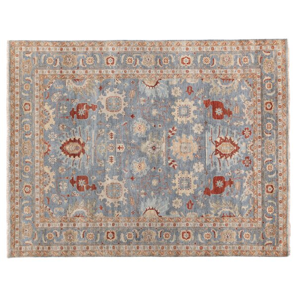 Fine Serapi Hand-Knotted Wool Blue/Beige Area Rug by Exquisite Rugs