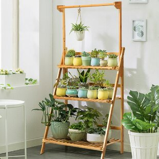 Roxanne 3 Tier Bamboo Ladder Bookcase