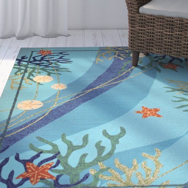 Coeymans Underwater Blue Coral and Starfish Indoor/Outdoor Area Rug by Highland Dunes