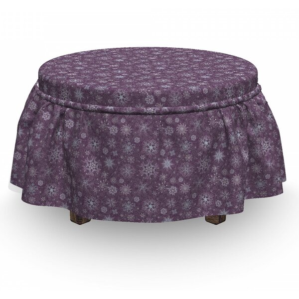 Eggplant Xmas Snowflakes Floral 2 Piece Box Cushion Ottoman Slipcover Set By East Urban Home