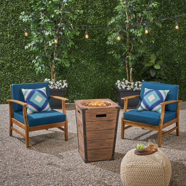 Kimbrel Outdoor 3 Piece Set with Cushions by Highland Dunes