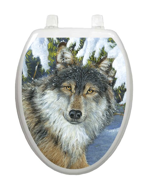 Lone Wolf Toilet Seat Decal by Toilet Tattoos