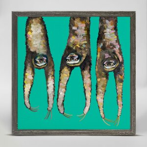 'Sloths Hanging out on Bright Teal' Framed Acrylic Painting Print on Canvas by Wrought Studio