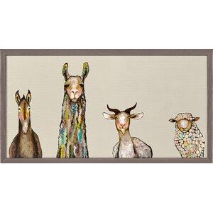 'Donkey, Llama, Goat, Sheep' by Eli Halpin Framed Print of Painting in Cream by GreenBox Art