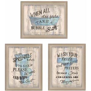 'Bathroom Humor' 3 Piece Framed Textual Art Set by Trendy Decor 4U
