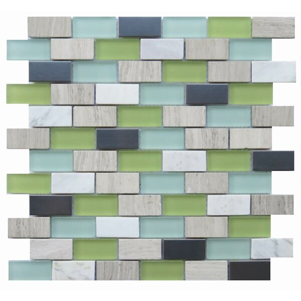 Sicilia 1 x 2 Natural Stone/Glass Mosaic Tile in Green by NovoTileStudio