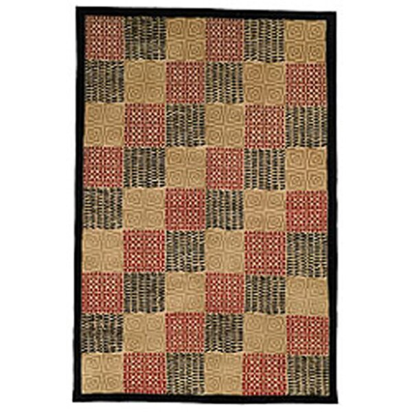 Youmans Tibetan Hand Knotted Silk/Wool Black/Rust Area Rug by Bloomsbury Market