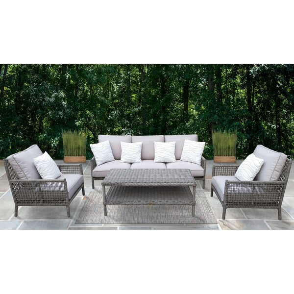 Jaylene 4 Piece Rattan Sofa Seating Group with Cushions by Rosecliff Heights
