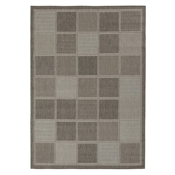 Summer Geometric Boxes Natural Gray Indoor/Outdoor Area Rug by Berrnour Home