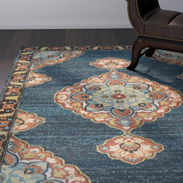 Manitou Traditional Floral Teal Area Rug by Bloomsbury Market