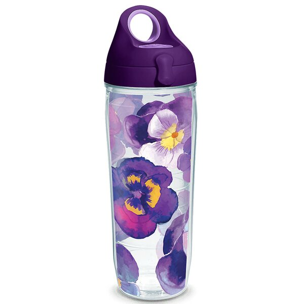 Garden Party Watercolor Pansy 24 oz. Plastic Water Bottle by Tervis Tumbler