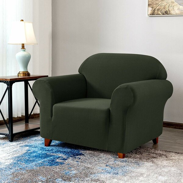Review Knit Jacquard Box Cushion Armchair Slipcover