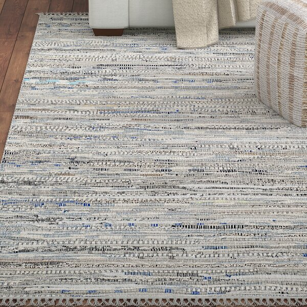 Havelock Striped Contemporary Hand-Woven Gray Area Rug by Beachcrest Home