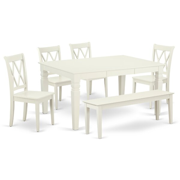 Kulas 6 Piece Extendable Solid Wood Breakfast Nook Dining Set by August Grove August Grove