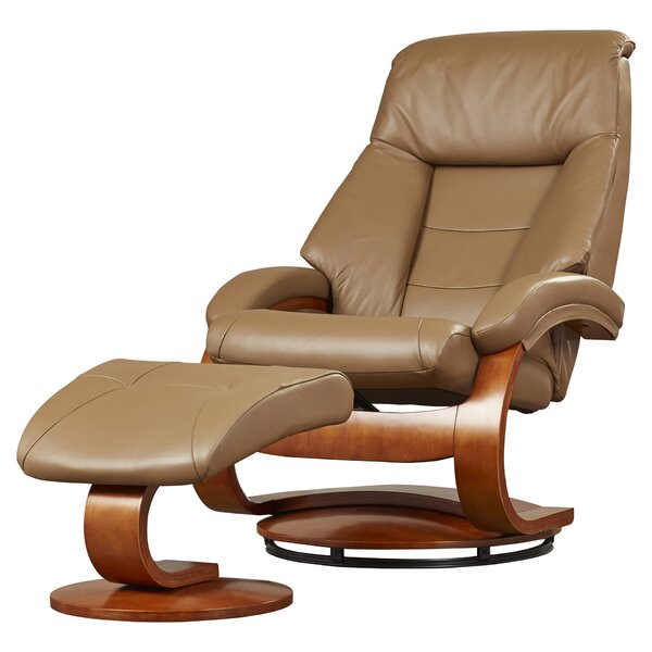 Flathead Lake Leather Manual Swivel Recliner with Ottoman RDBS3997