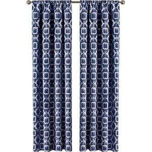 Tara Geometric Semi-Sheer Rod Pocket Single Curtain Panel