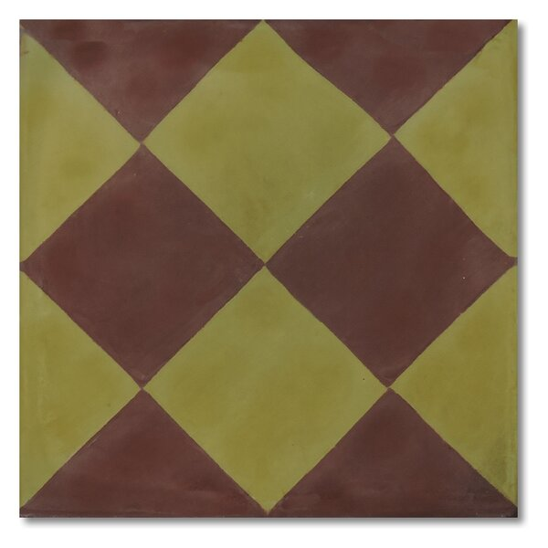 Rabat 8 x 8 Handmade Cement Tile in Brown and Green by Moroccan Mosaic