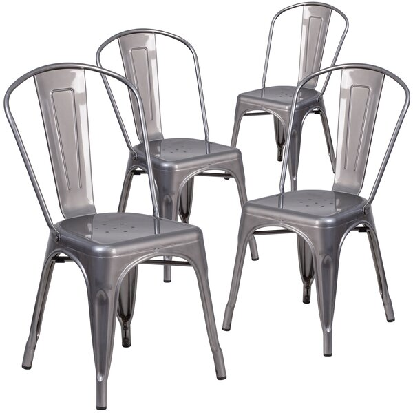 Guglielmo Coated Metal Indoor Stackable Dining Chair (Set of 4) by 17 Stories