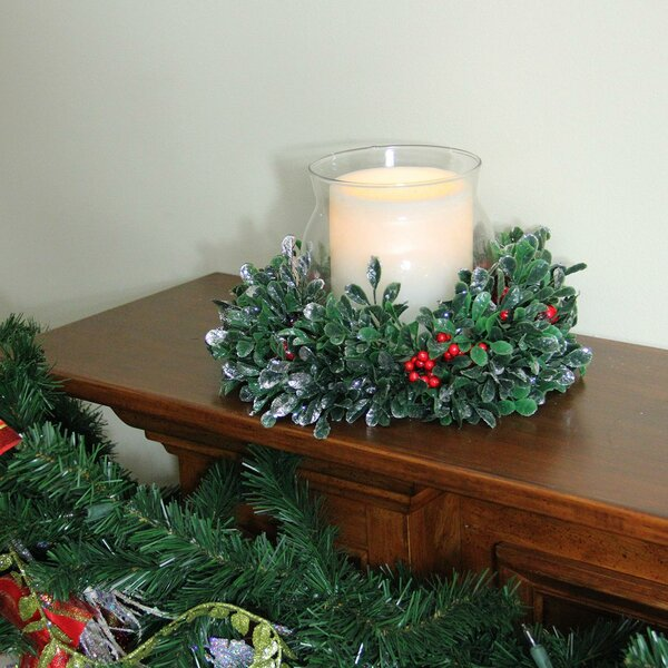 Boxwood and Berry Tipped Christmas Glass Hurricane by The Holiday Aisle