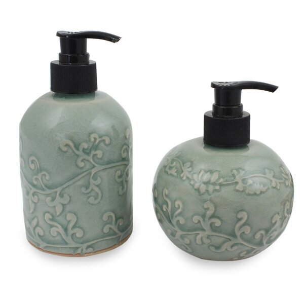 Youmans Floral Ceramic 2 Piece Bathroom Accessory Set by Bloomsbury Market