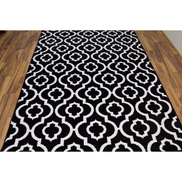 Spaulding Black/White Indoor/Outdoor Area Rug by Andover Mills