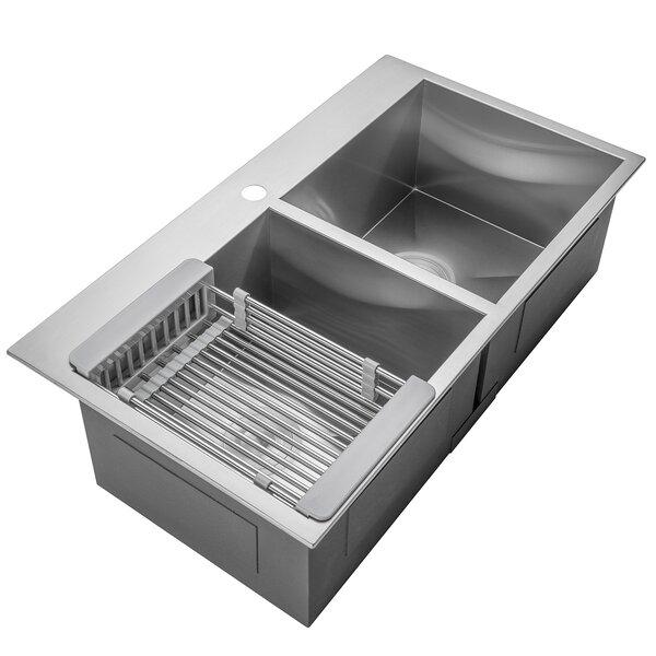 32 L x 18 W Double Basin Drop-In Kitchen Sink