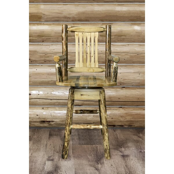 Tustin Swivel Solid Wood Bar & Counter Stool by Loon Peak Loon Peak