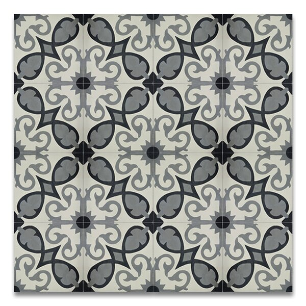 Agadir 8 x 8Handmade Cement Tile in Gray/White by Moroccan Mosaic