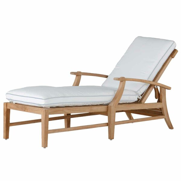 Croquet Teak Chaise Lounge with Cushion by Summer Classics