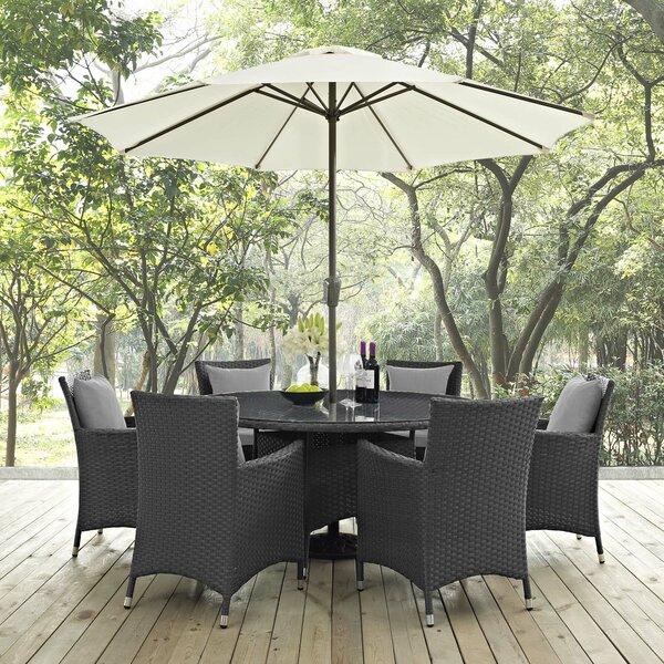Tripp 8 Piece Dining Set with Sunbrella Cushions and Umbrella by Brayden Studio