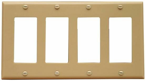 4 Gang Decorator / GFCI Lexan Wall Plates in Ivory by Morris Products