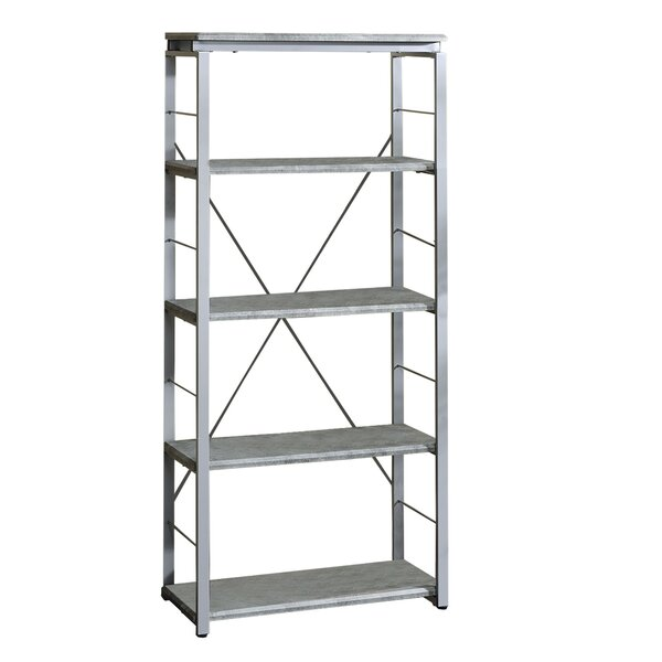 Industrial Bookshelf With 4 Shelves And Open Metal Frame, Silver And Gray By Gracie Oaks