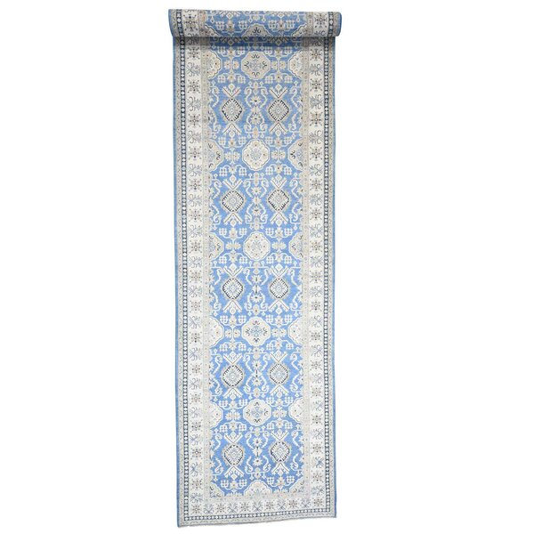 One-of-a-Kind Espada Wide Vintage Look Oriental Hand-Knotted Blue Area Rug by Millwood Pines