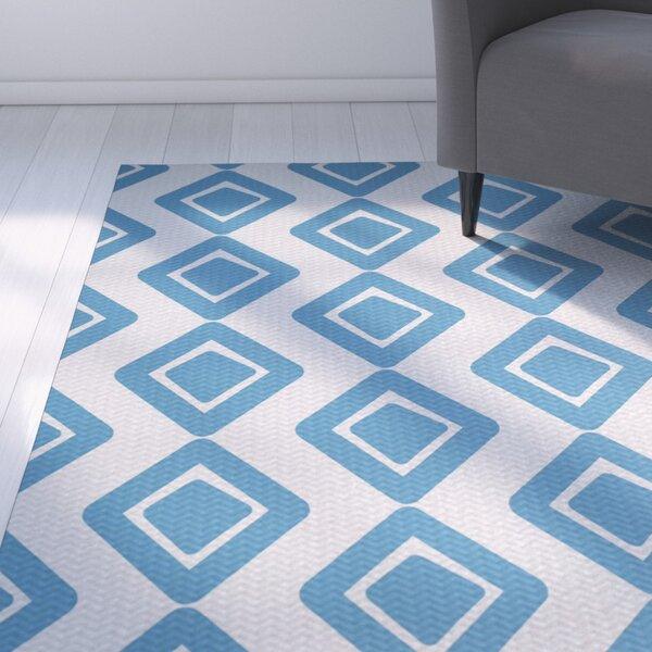 Abbie Diamond Blue Indoor/Outdoor Area Rug by Ebern Designs