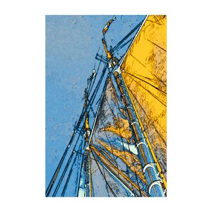 Yellow Sails at Sea' by Linda Parker Painting Print on Rolled Canvas by ArtWall