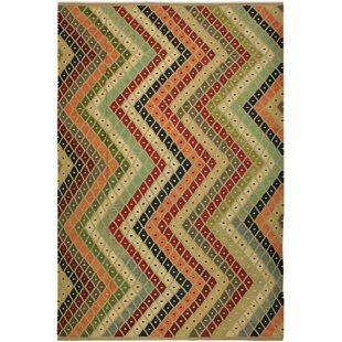 Affordable One-of-a-Kind Jorge Handmade Kilim Wool Green/Black Area Rug By Isabelline