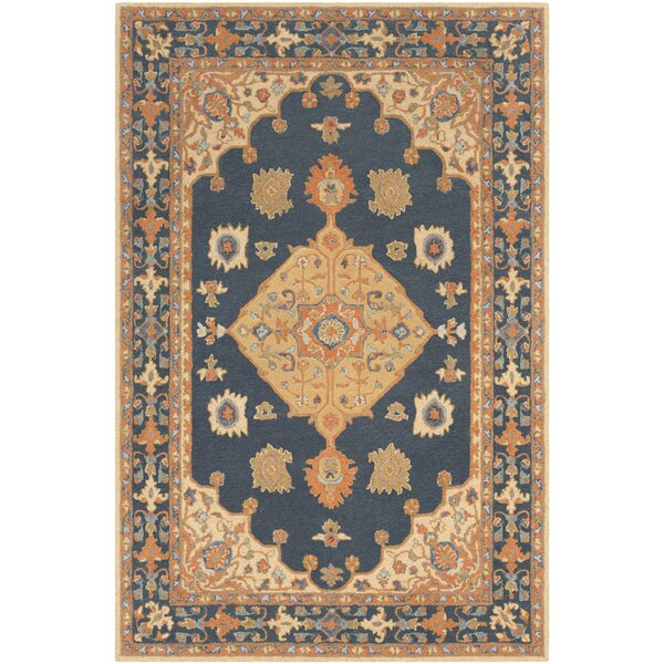 Moon Hand-Tufted Wool Navy/Beige Area Rug by Astoria Grand