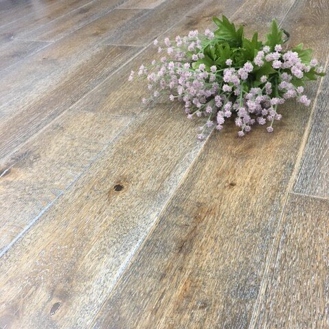 4-3/4 Solid Wood Oak Hardwood Flooring in Duck Line Wash by Yulf Design & Flooring