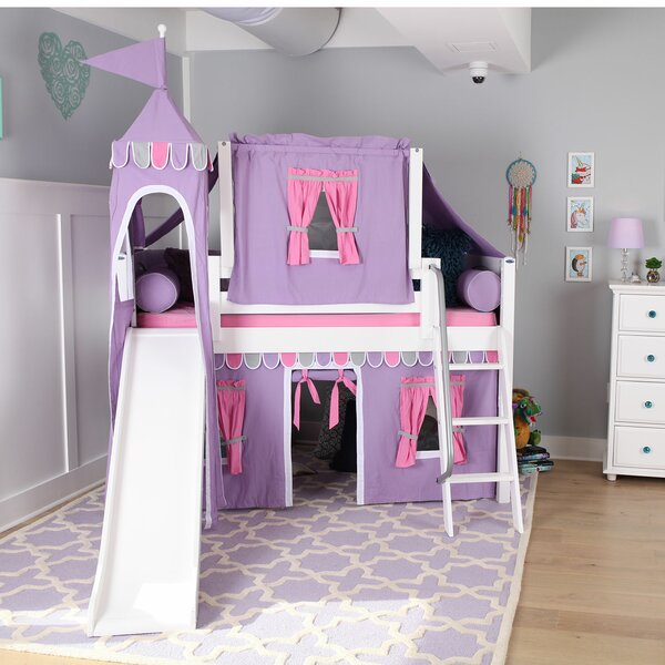 Stowers Wow Twin Loft Bed with Slide Tent and Curtains by Zoomie Kids